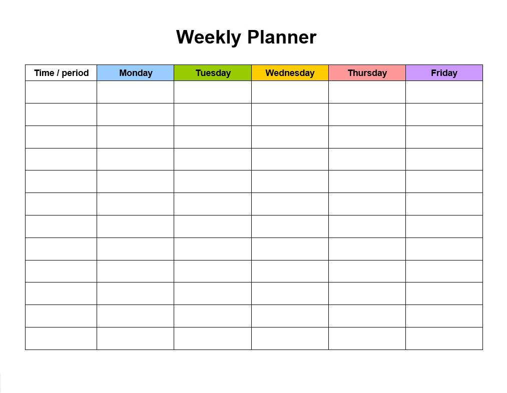 Sample Weekly Planner Template