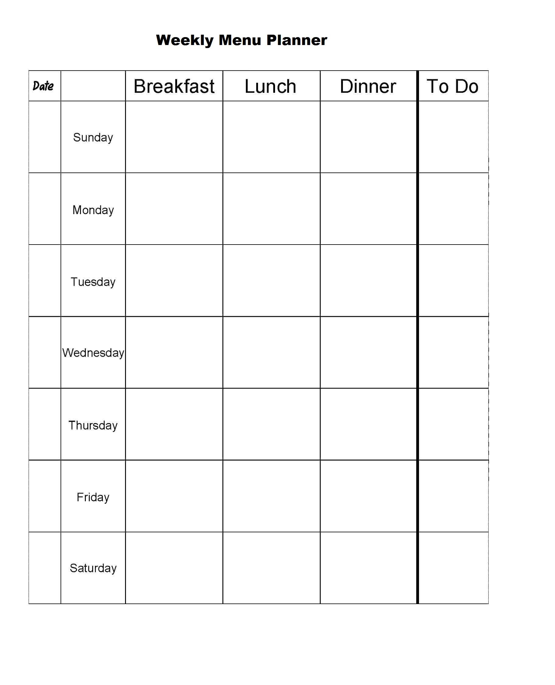 Weekly Menu Planner Templates