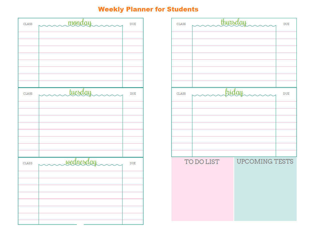 Weekly Planner Template for Students